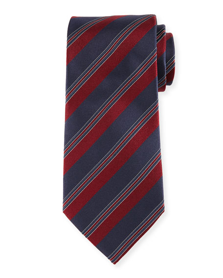 Ermenegildo Zegna Diagonal Striped Silk Tie