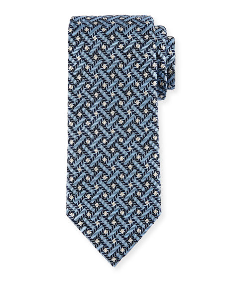 Ermenegildo Zegna Lattice Silk Tie, Blue