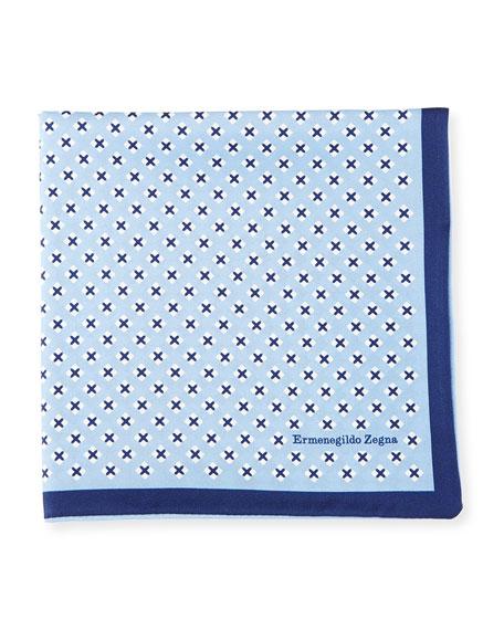 Geometric Cross Silk Pocket Square, Blue