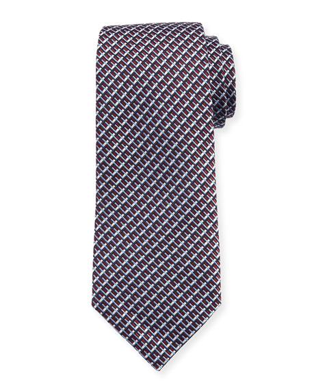 Ermenegildo Zegna Diagonal Geometric Silk Tie, Red