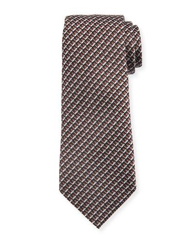 Diagonal Geometric Silk Tie, Brown