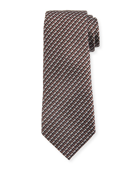 Ermenegildo Zegna Diagonal Geometric Silk Tie, Brown