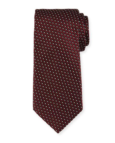 Ermenegildo Zegna Diagonal Diamonds Silk Tie, Red