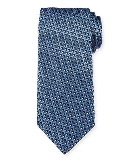 Ermenegildo Zegna Diagonal Diamonds Silk Tie, Blue