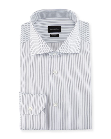 Ermenegildo Zegna Trofeo?? Twin-Stripe Dress Shirt, White/Blue