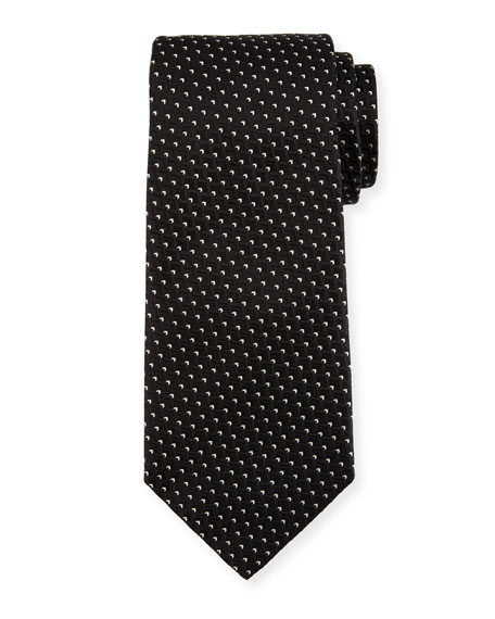 Ermenegildo Zegna Diagonal Diamonds Silk Tie, Black