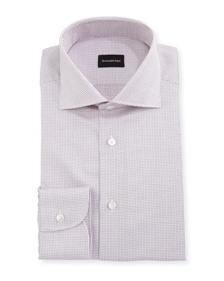Ermenegildo Zegna Micro-Box Check Cotton Dress Shirt