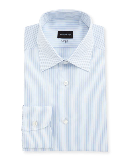 Ermenegildo Zegna 100Fili Striped Cotton Dress Shirt, White/Blue