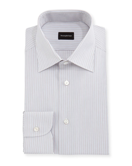 Fine-Striped Cotton Dress Shirt