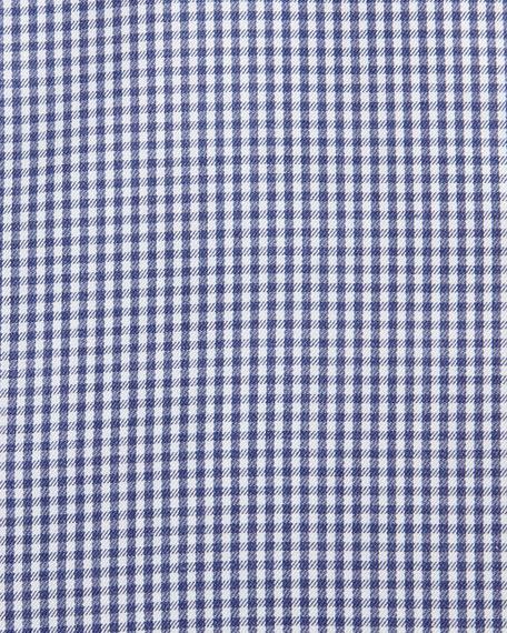 Micro-Gingham Cotton Dress Shirt