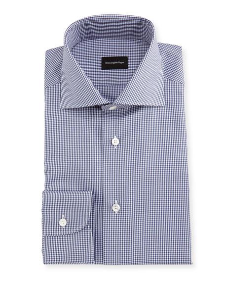 Ermenegildo Zegna Micro-Gingham Cotton Dress Shirt