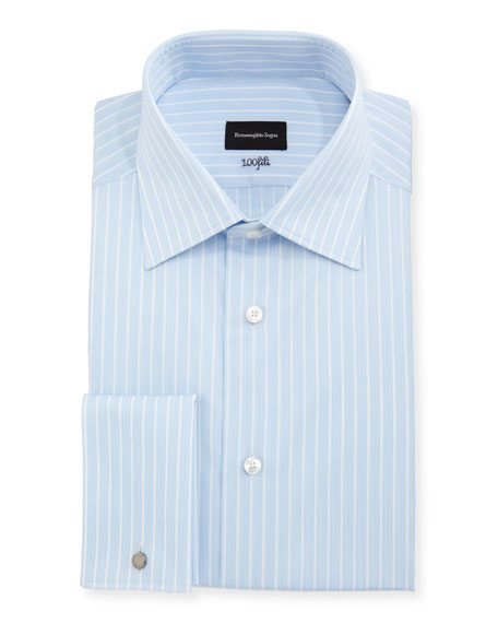Ermenegildo Zegna 100Fili Striped Cotton Dress Shirt, Blue
