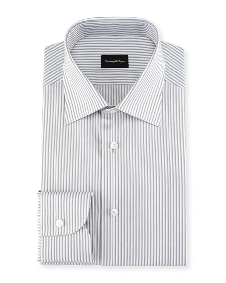 Ermenegildo Zegna Multi-Stripe Cotton Dress Shirt, Light Gray