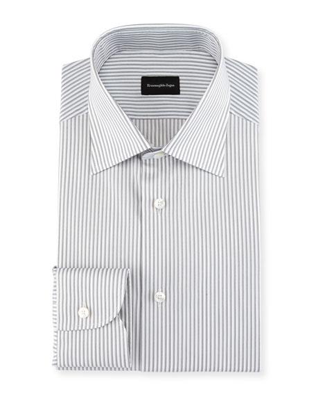 Ermenegildo Zegna Multi-Stripe Cotton Dress Shirt, Light Gray