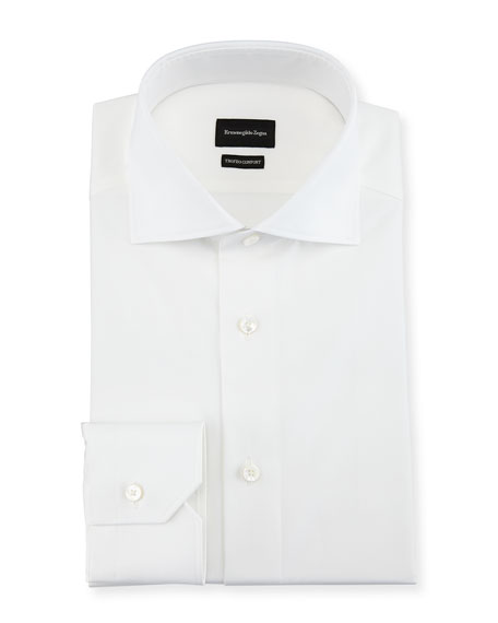 Ermenegildo Zegna Trofeo?? Comfort Cotton Dress Shirt, White