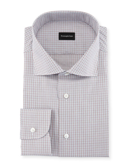 Ermenegildo Zegna Mini-Check Cotton Dress Shirt