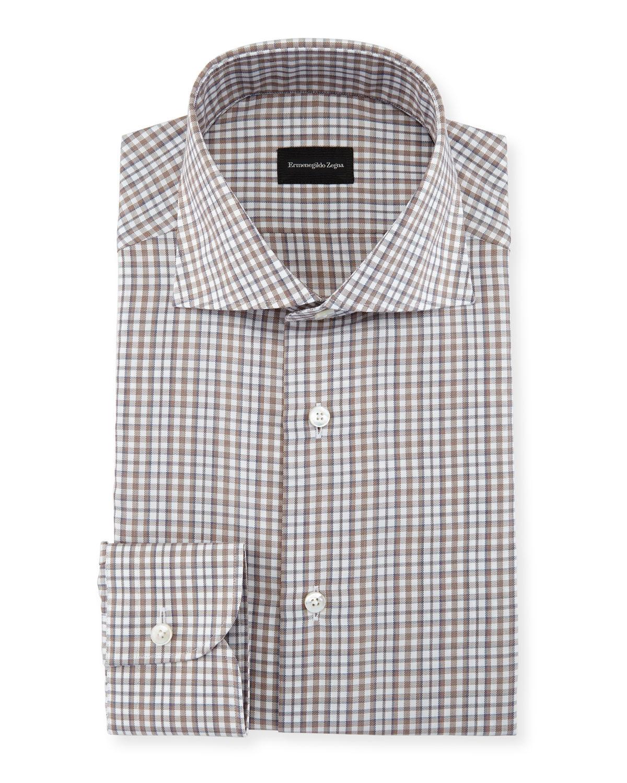 Ermenegildo Zegna Check Cotton Dress Shirt Neiman Marcus