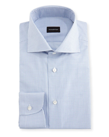 Ermenegildo Zegna Micro-Check Cotton Dress Shirt