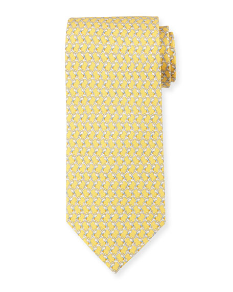 Salvatore Ferragamo Dog-Print Silk Twill Tie, Yellow