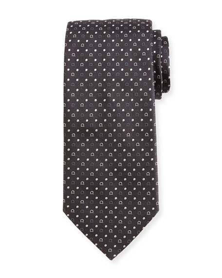 Gancio & Dot Silk Twill Tie, Gray