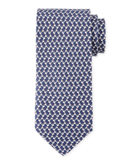 Salvatore Ferragamo Dog-Print Silk Twill Tie, Blue