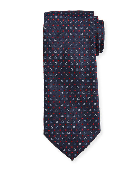 Gancio & Dot Silk Twill Tie, Blue
