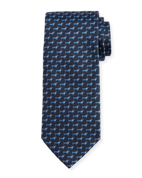 Woven Dog Silk Twill Tie, Blue