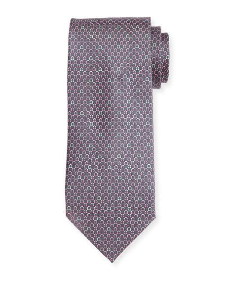 Salvatore Ferragamo Bicolor Gancio Silk Twill Tie, Gray