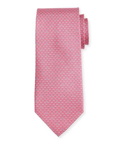Salvatore Ferragamo Bicolor Gancio Silk Twill Tie, Pink