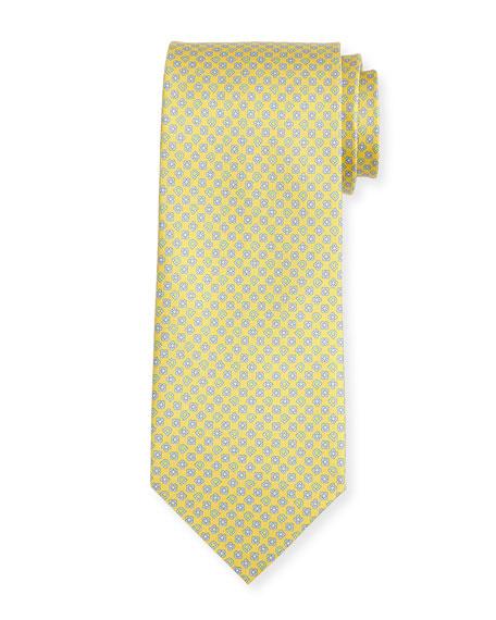 Salvatore Ferragamo Floral Gancio Silk Twill Tie, Yellow