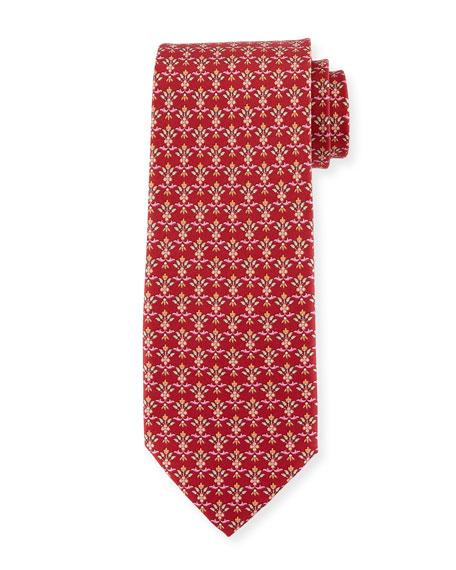 Floral Wallpaper Silk Twill Tie, Red