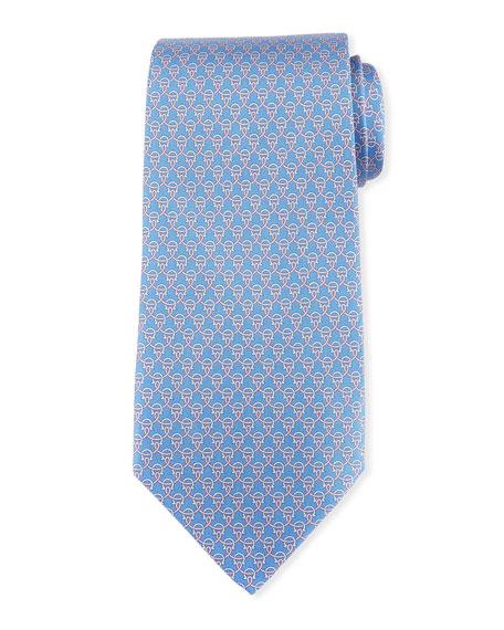 Salvatore Ferragamo Lasso Gancio Silk Twill Tie, Blue
