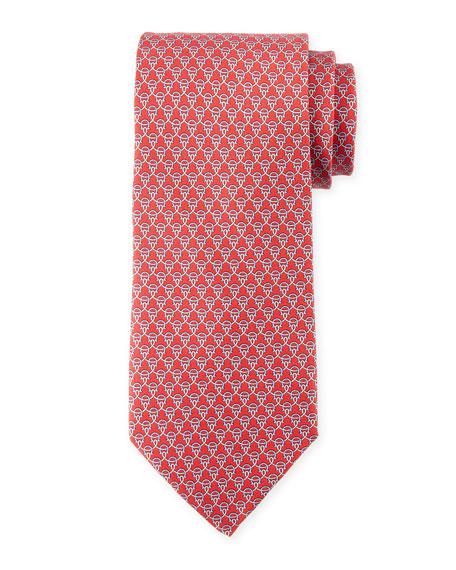 Salvatore Ferragamo Lasso Gancio Silk Twill Tie, Red