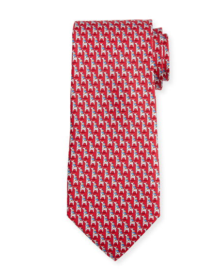 Penguin & Giraffe Silk Twill Tie, Red