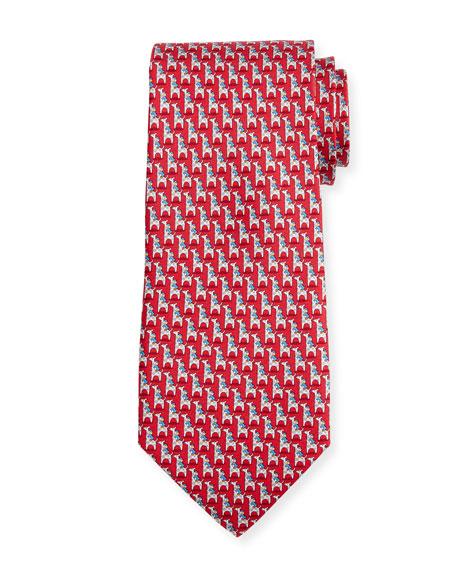 Salvatore Ferragamo Penguin & Giraffe Silk Twill Tie,