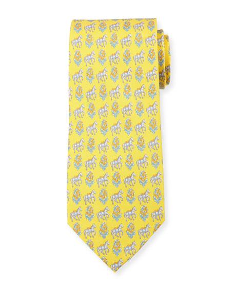 Salvatore Ferragamo Floral Horse Silk Twill Tie, Yellow