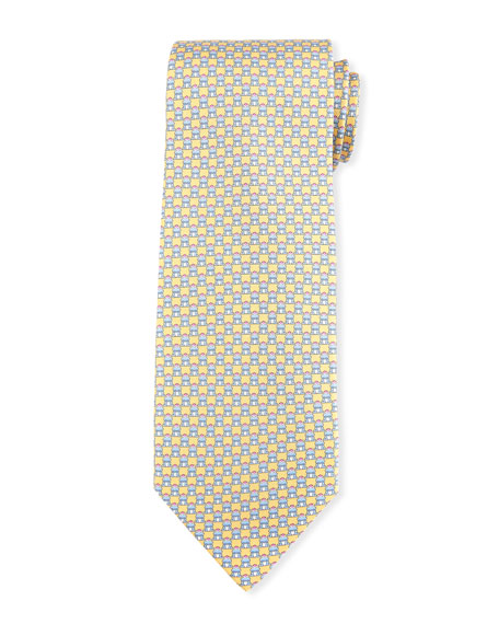 Salvatore Ferragamo Frog-Print Silk Twill Tie, Yellow