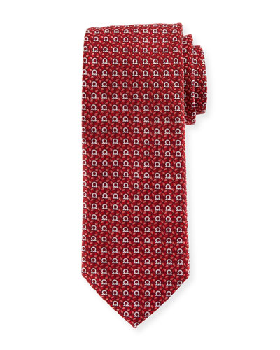 Gancini Floral-Print Silk Tie, Red