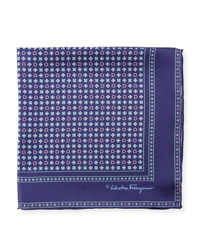 Salvia Floral/Gancini Silk Pocket Square