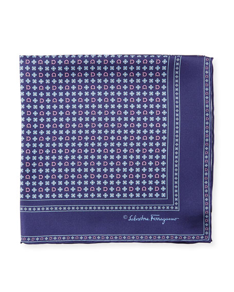 Salvia Floral/Gancini Silk Pocket Square