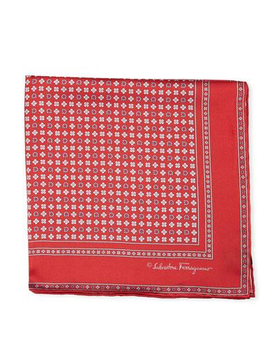 Floral Gancio Silk Twill Pocket Square, Red