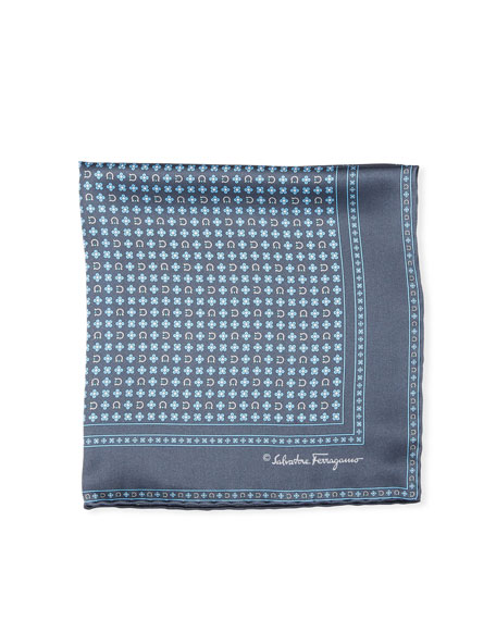 Floral Gancio Silk Twill Pocket Square, Gray