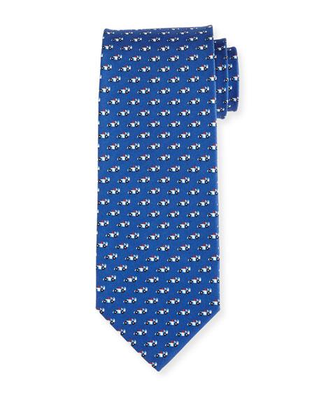 Salvatore Ferragamo Race Car Silk Tie, Blue