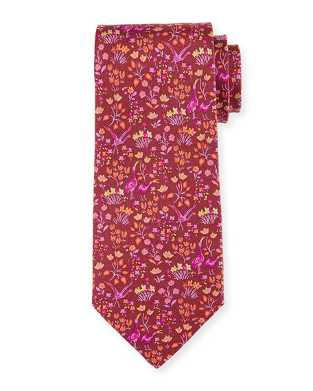 Salvatore Ferragamo Darly Floral & Bird-Print Silk Tie
