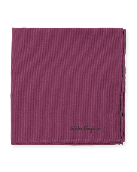 Salvatore Ferragamo Solid Silk Twill Pocket Square, Purple