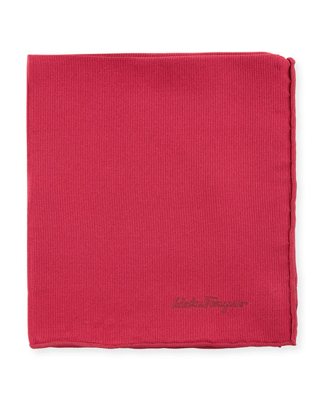 Solid Silk Twill Pocket Square, Red