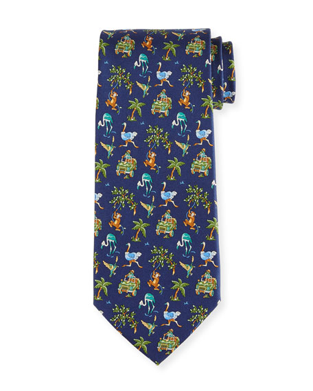 Salvatore Ferragamo Jungle-Print Silk Twill Tie, Navy