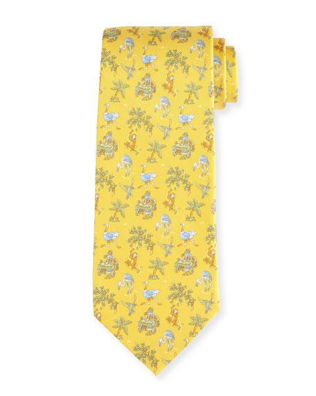 Salvatore Ferragamo Jungle-Print Silk Twill Tie, Yellow