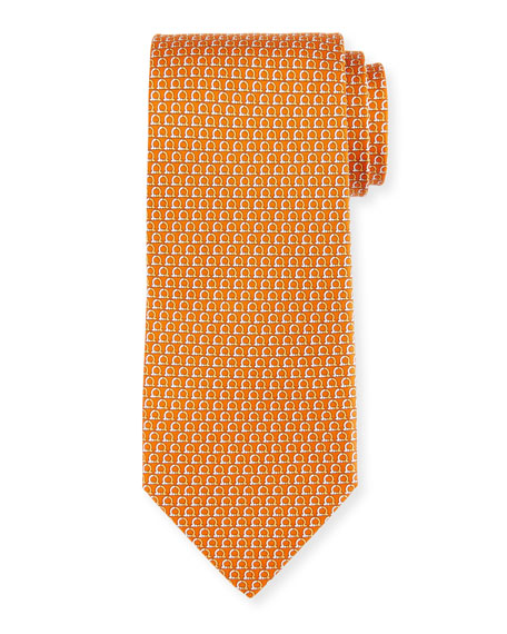 Salvatore Ferragamo Desiderio Gancio Silk Tie, Orange