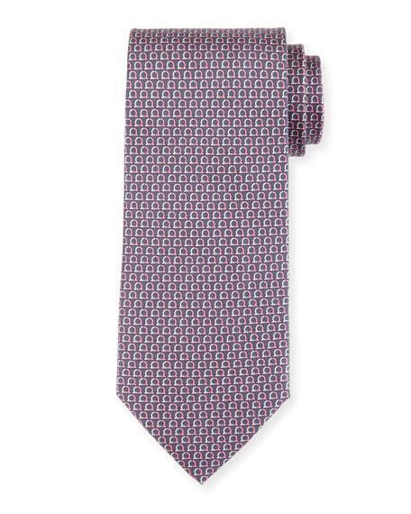 Salvatore Ferragamo Gancio Silk Tie, Gray